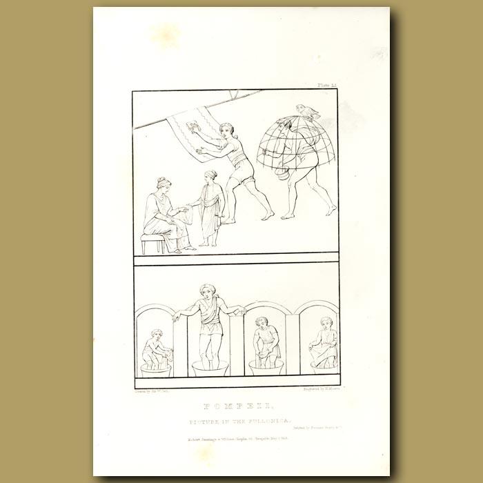 Antique print. Pompeii: Picture in the Fullonica