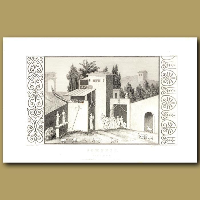 Antique print. Pompeii: Picture of a Roman Villa
