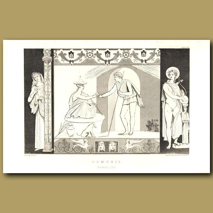 Antique print. Pompeii: Penelope