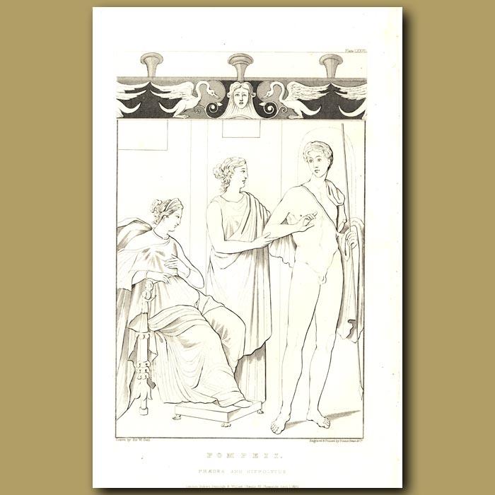 Antique print. Pompeii: Phaedra and Hippolytus