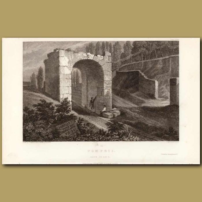 Antique print. Pompeii: Gate of Isis
