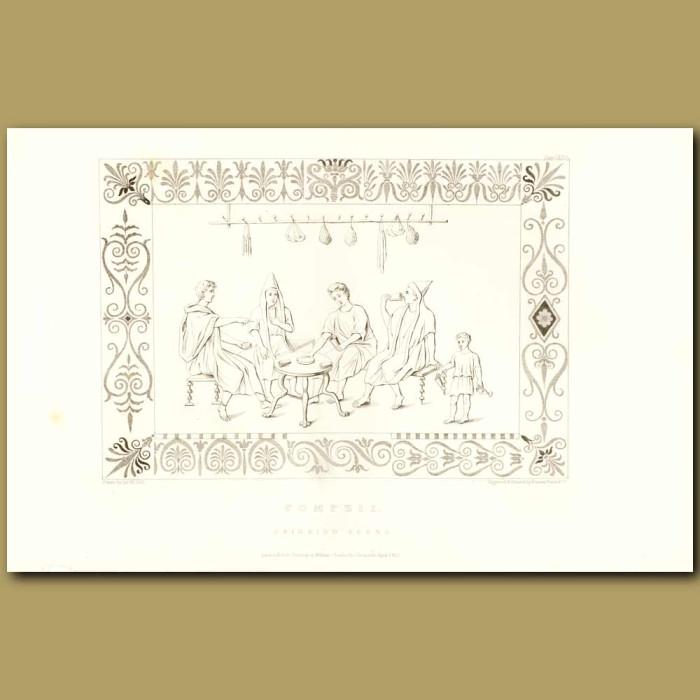 Antique print. Pompeii: Drinking Scene