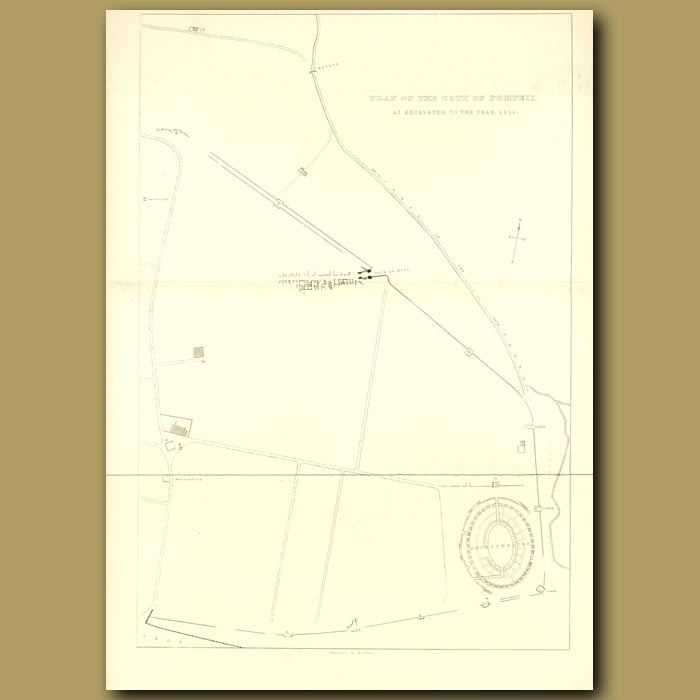 Antique print. Pompeii: Plan of the city of Pompeii