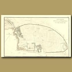 Pompeii: Map Of Excavated City Of Pompeii To The Year 1817