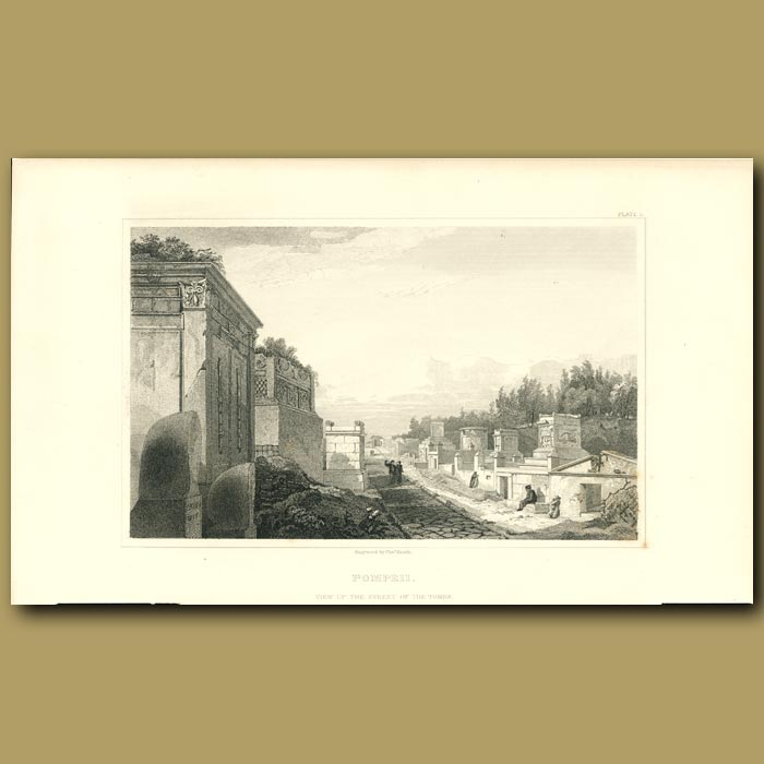 Antique print. Pompeii: View up the Street of the Tombs