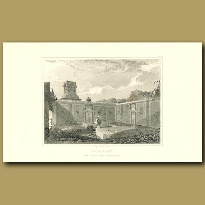 Antique print. Pompeii: The Sepulchre triclinium