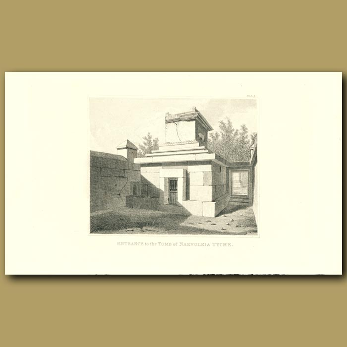 Antique print. Pompeii: Entrance to the Tomb of Naevoleia Tyche