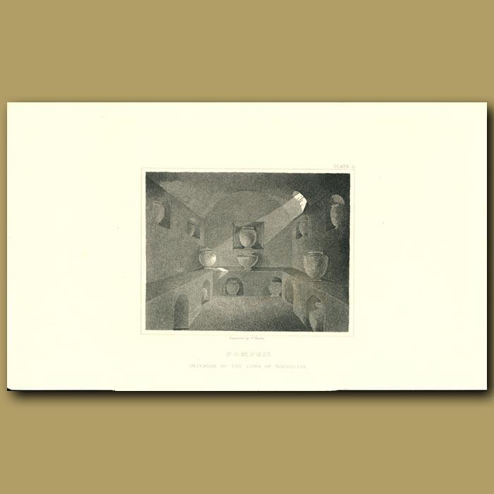 Antique print. Pompeii: Interior of the Tomb of Naevoleia