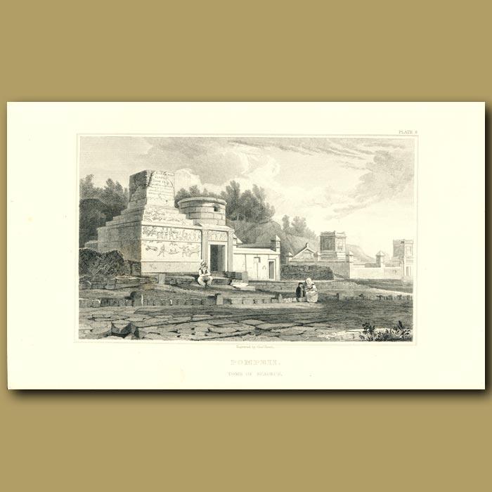 Antique print. Pompeii: Tomb of Scaurus