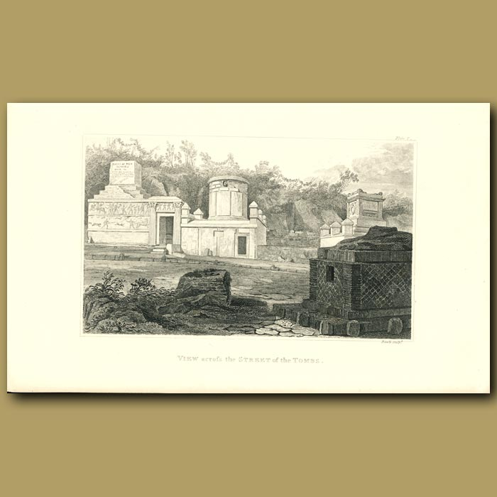 Antique print. Pompeii: View across the Street of the Tombs