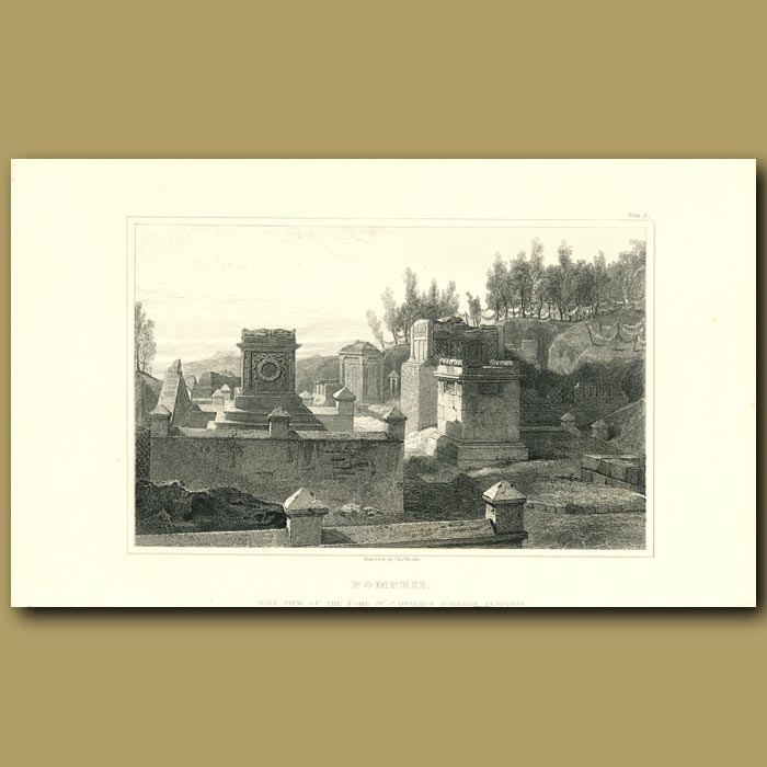 Antique print. Pompeii: Side view of the Tomb of C. Quietus towards Vesuvius