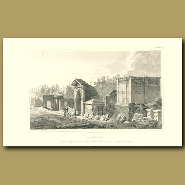Antique print. Pompeii: View in the Street of the Tombs from the Gate of Herculaneum