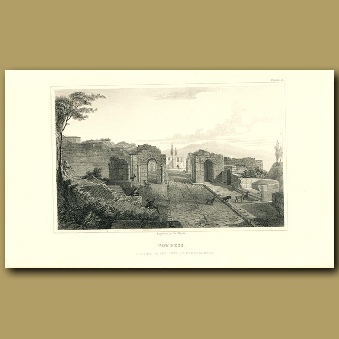 Antique print. Pompeii: Outside of the Gate of Herculaneum
