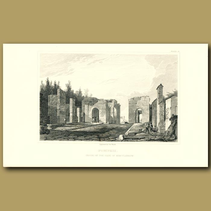 Antique print. Pompeii: Inside the Gate of Herculaneum