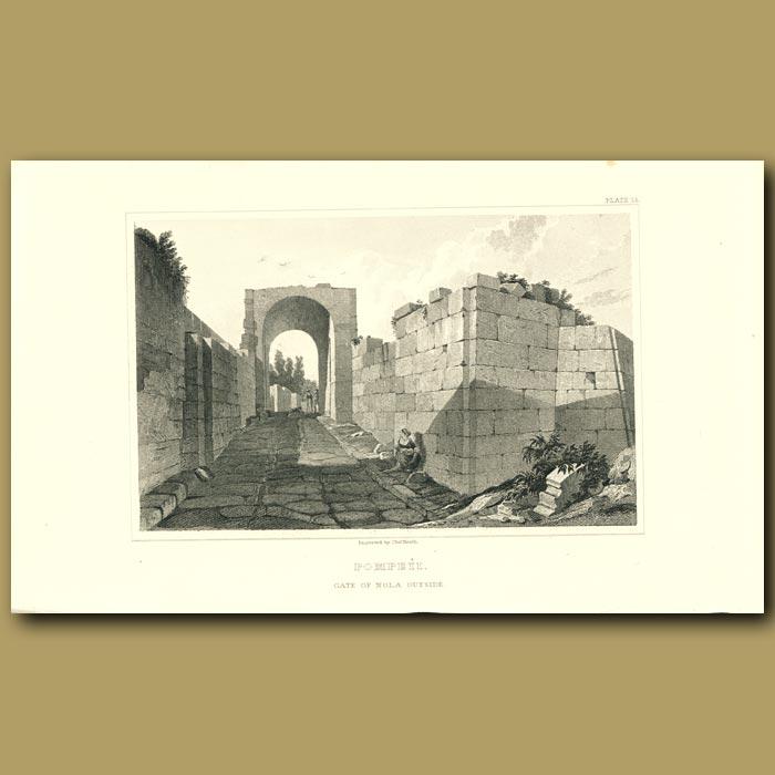 Antique print. Pompeii: Gate of Nola outside
