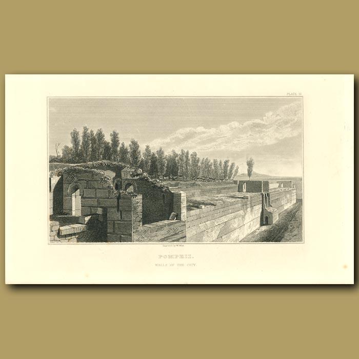 Antique print. Pompeii: Walls of the City