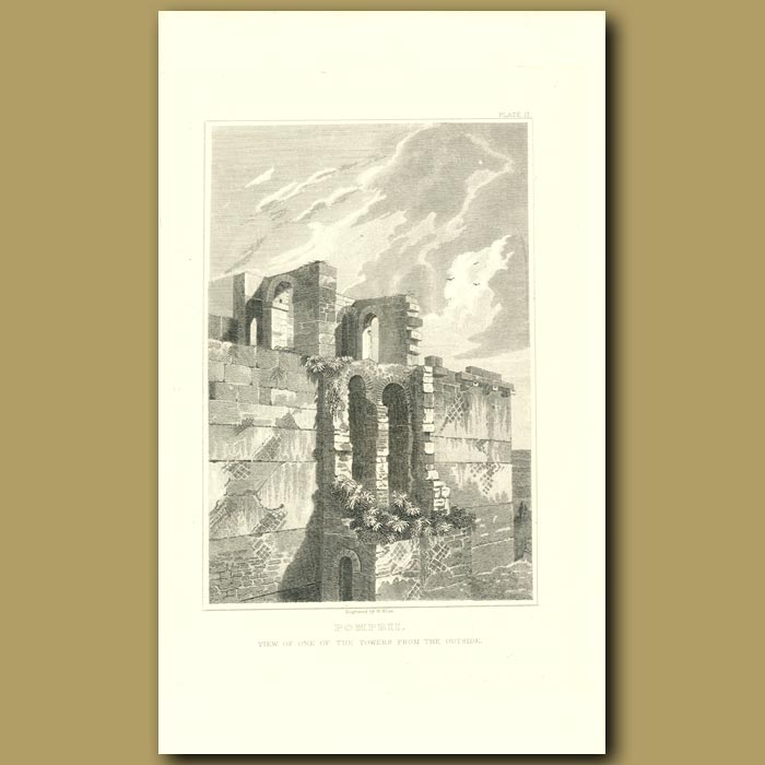 Antique print. Pompeii: View of one of the Towers from the outside