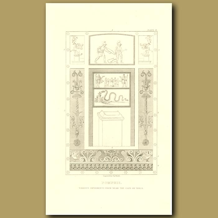 Antique print. Pompeii: Various Ornaments from near the Gate of Nola