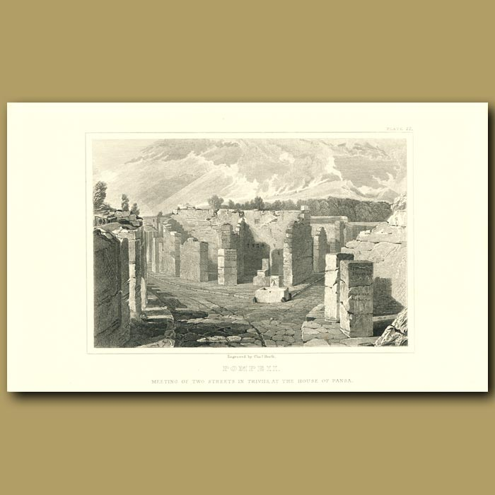 Antique print. Pompeii: Meeting of the two streets in Triviis at the House of Pansa