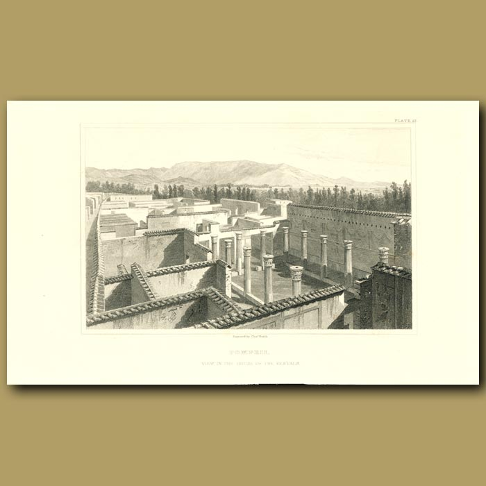 Antique print. Pompeii: View in the House of the Vestals