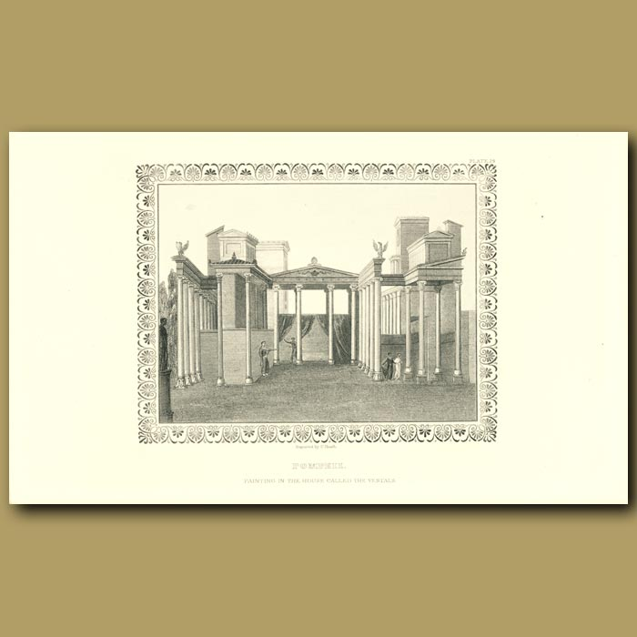 Antique print. Pompeii: Painting in the House called the Vestals