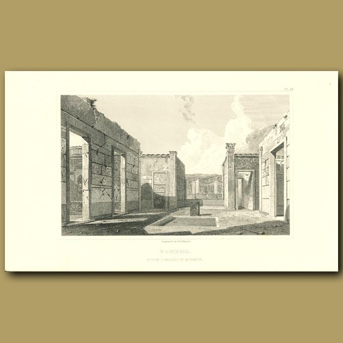 Antique print. Pompeii: House of Actaeon