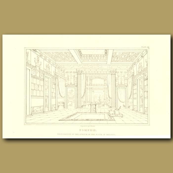 Antique print. Pompeii: Restoration of the atrium in the House of Sallust