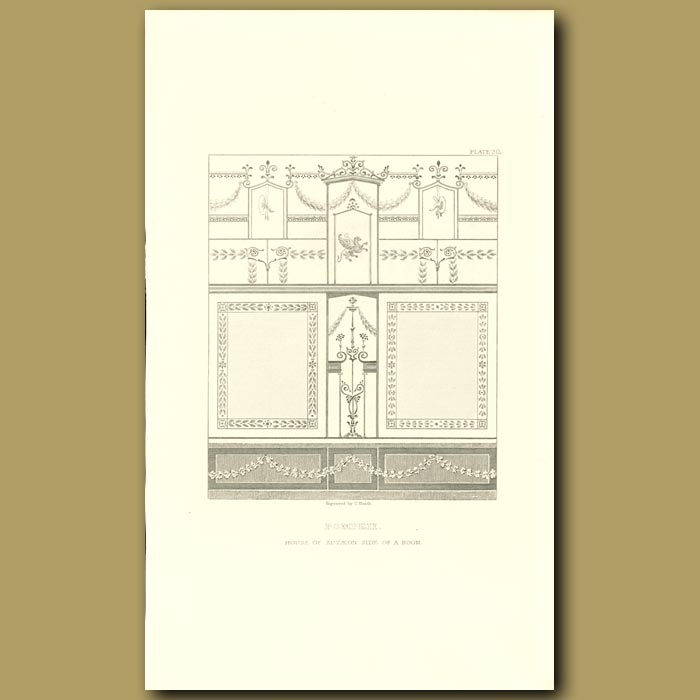 Antique print. Pompeii: House of Actaeon, side of a room