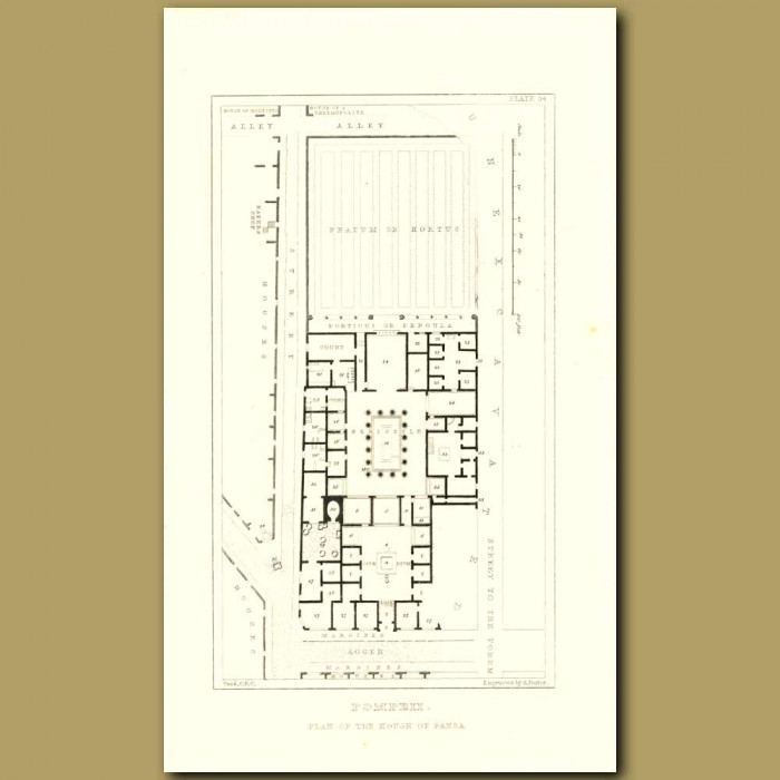 Antique print. Pompeii: Plan of the House of Pansa