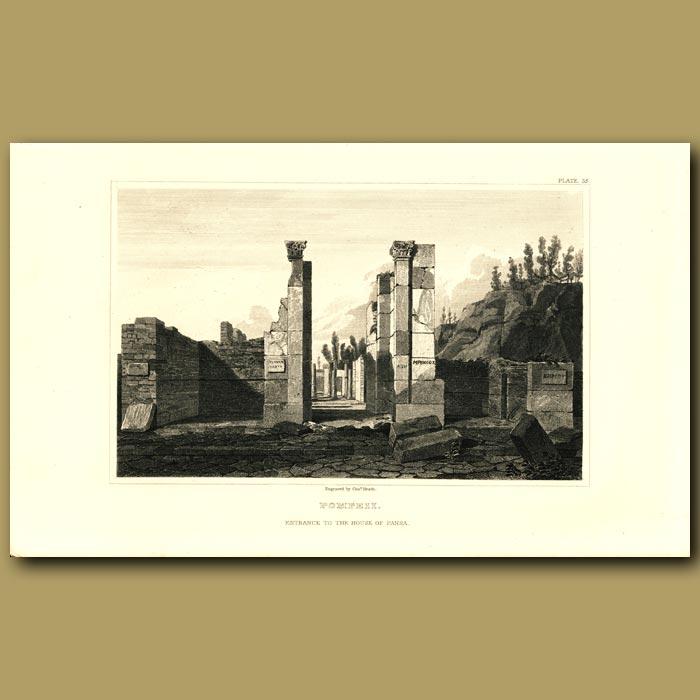 Antique print. Pompeii: Entrance to the House of Pansa