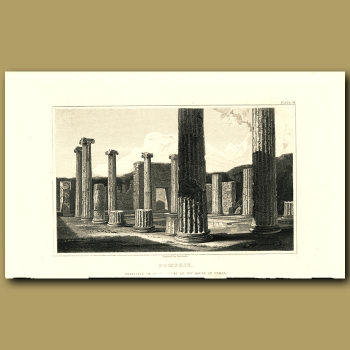 Antique print. Pompeii: Peristyle of the House of Pansa
