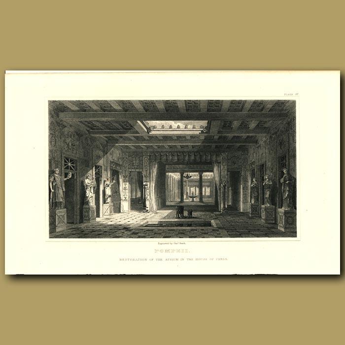 Antique print. Pompeii: Restoration of the atrium in the House of Pansa