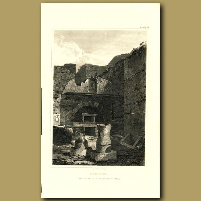 Antique print. Pompeii: Oven and Mills in the House of Pansa