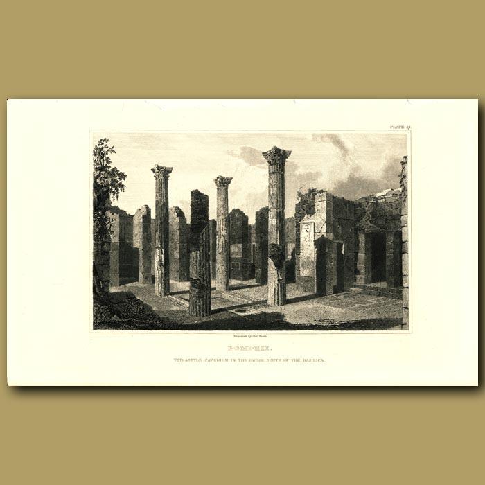Antique print. Pompeii: Tetrastyle cavaedium in the House south of the Basilica