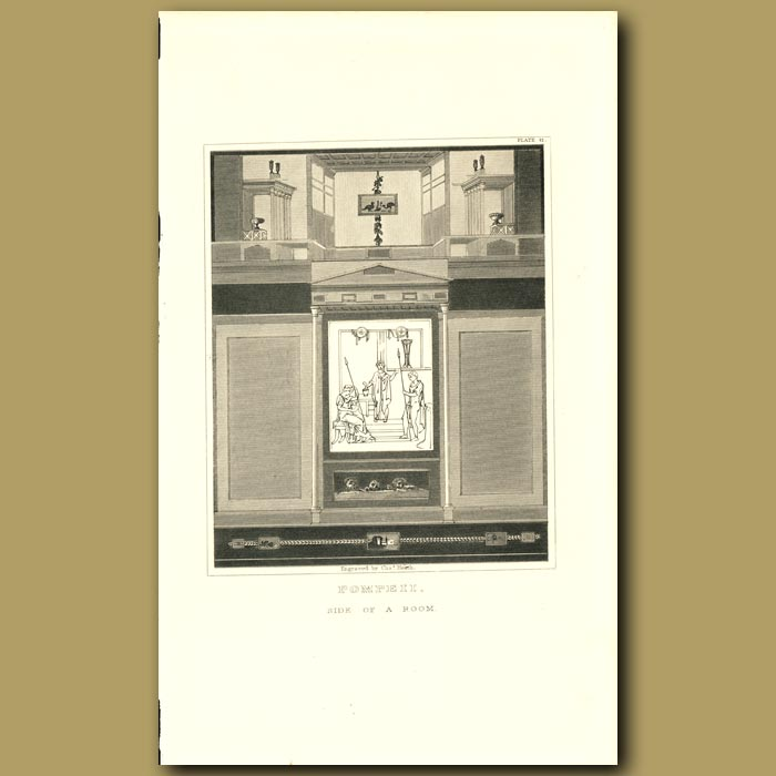 Antique print. Pompeii: Side of a room