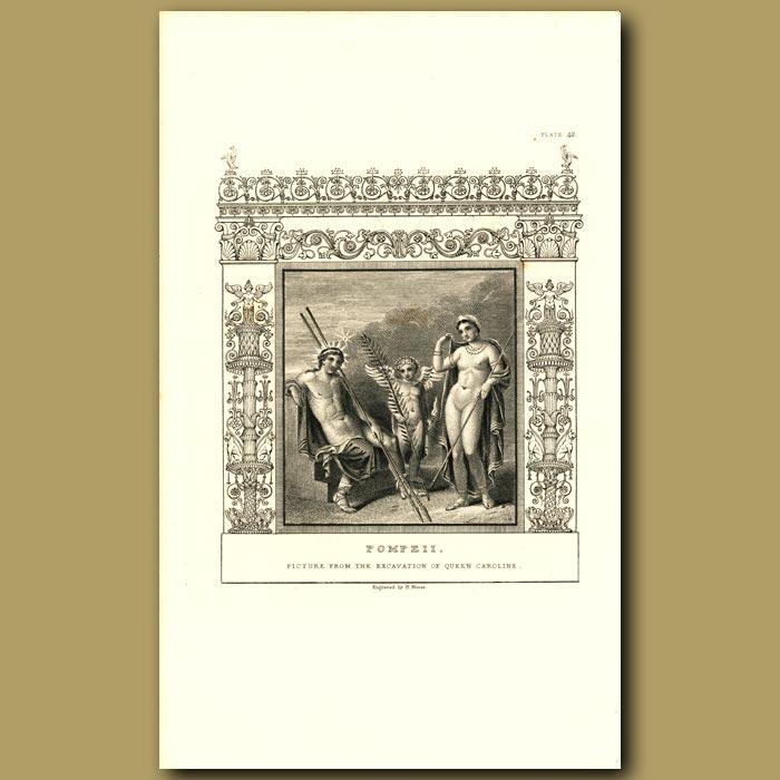 Antique print. Pompeii: Picture from the excavation of Queen Caroline