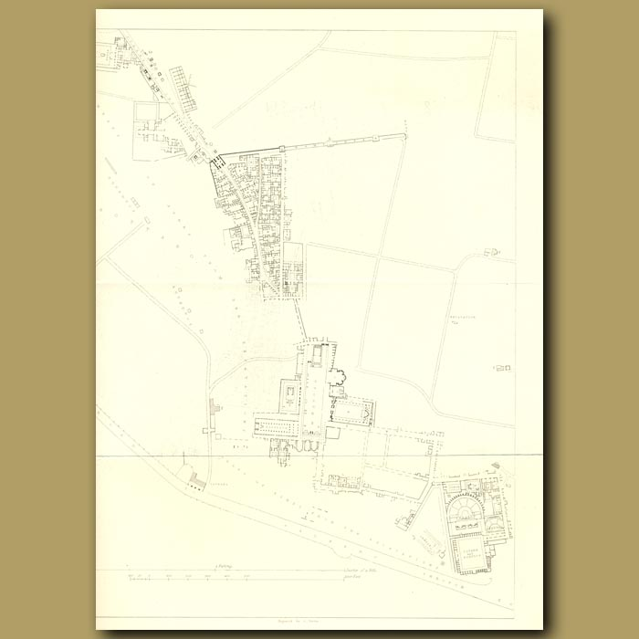 Antique print. Pompeii: Plan
