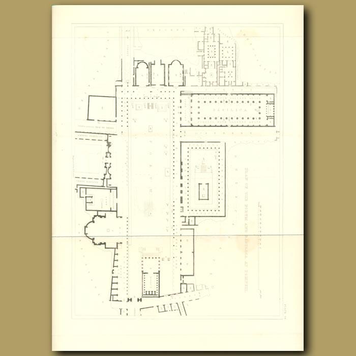 Antique print. Pompeii: Plan of the forum and basilica at Pompeii