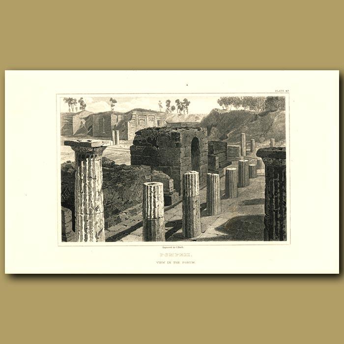 Antique print. Pompeii: View in the forum