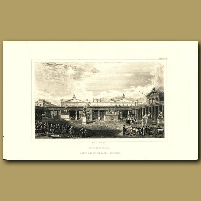 Antique print. Pompeii: South end of the forum restored