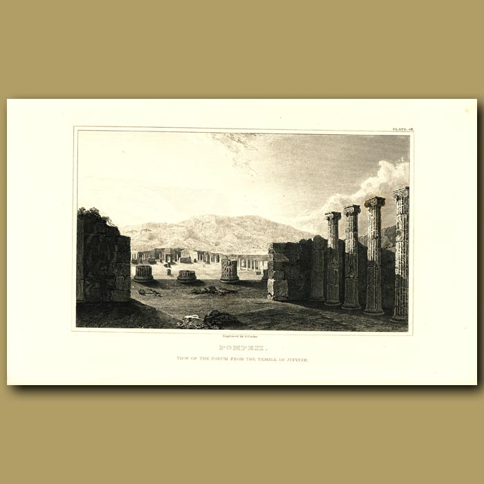 Antique print. Pompeii: View of the forum from the Temple of Jupiter