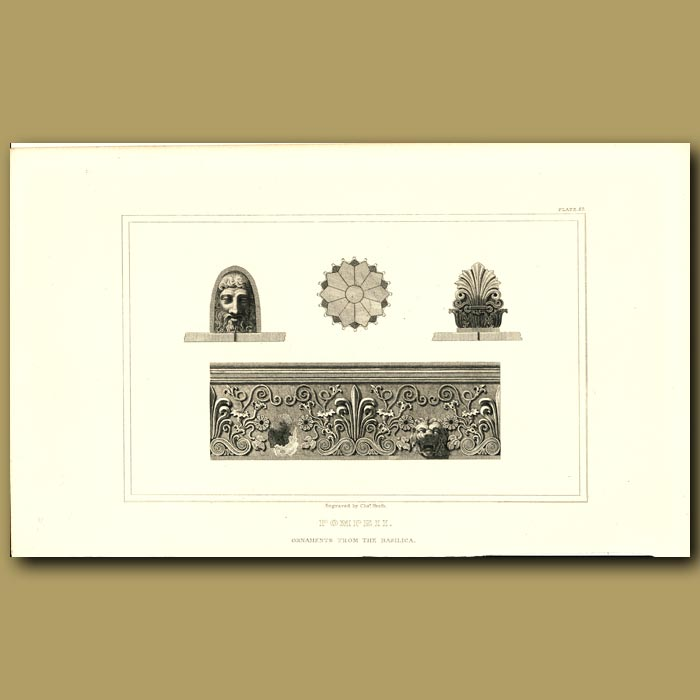 Antique print. Pompeii: Ornaments from the Basilica