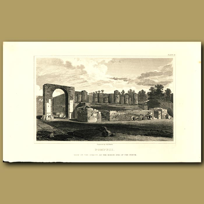 Antique print. Pompeii: View of the Temple at the north end of the forum