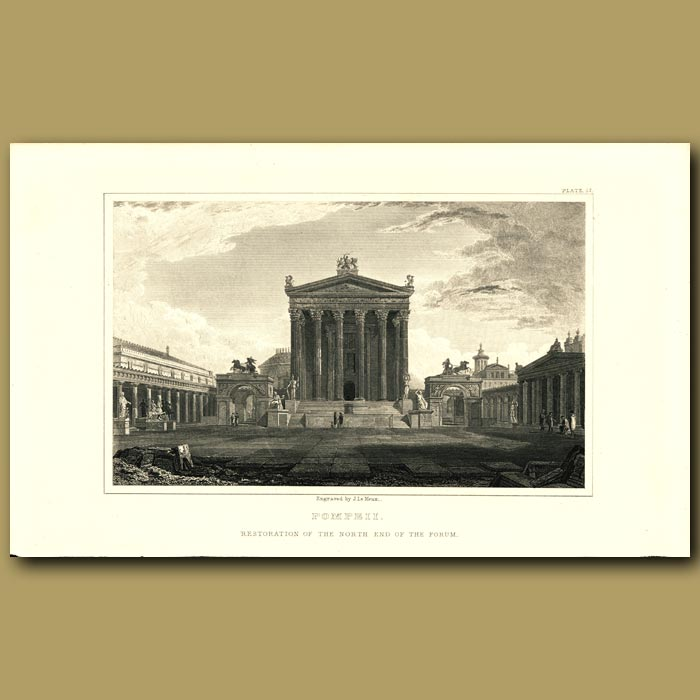 Antique print. Pompeii: Restoration of the north end of the forum