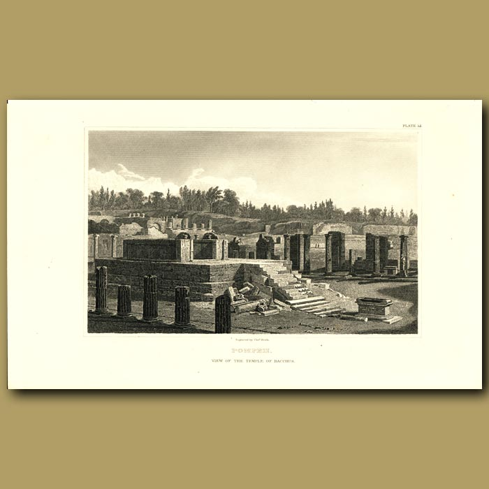 Antique print. Pompeii: View of the Temple of Bacchus