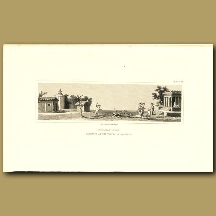 Antique print. Pompeii: Paintings in the Temple of Bacchus