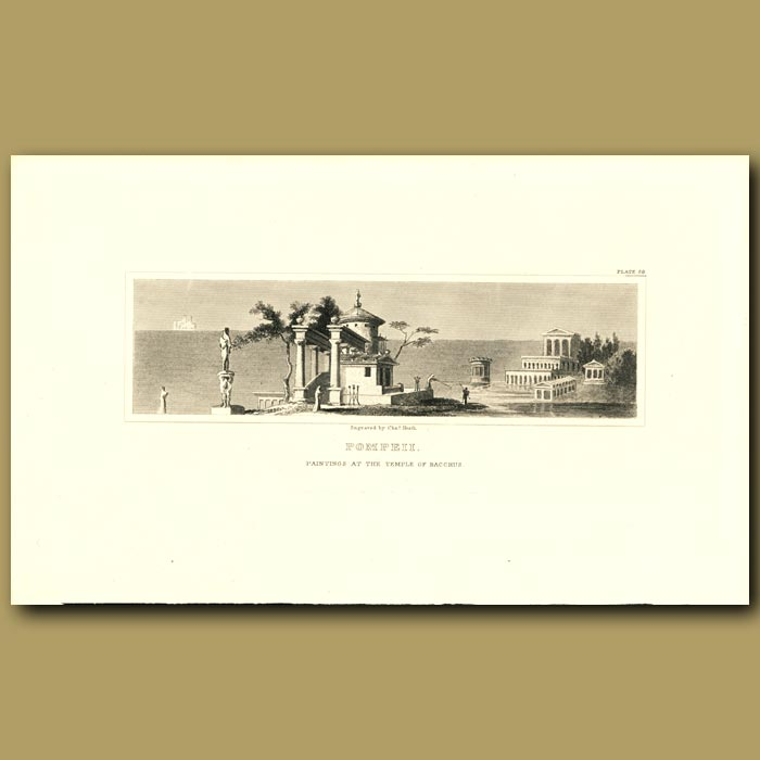 Antique print. Pompeii: Paintings at the Temple of Bacchus