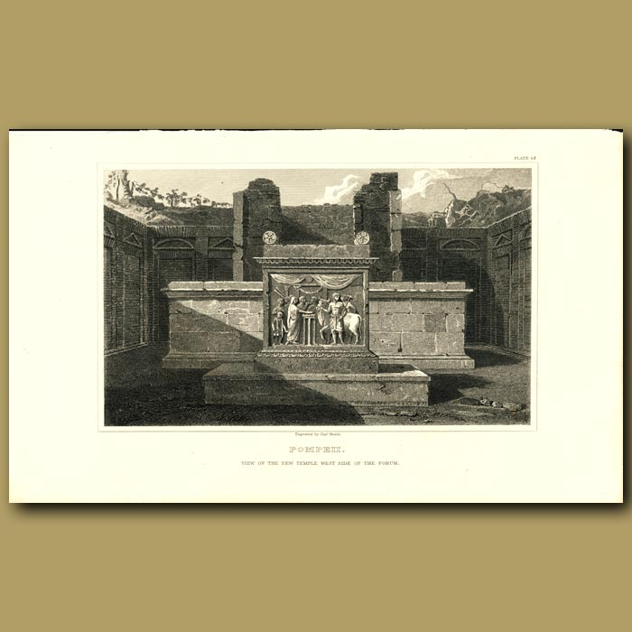 Antique print. Pompeii: View of the new temple west side of the forum