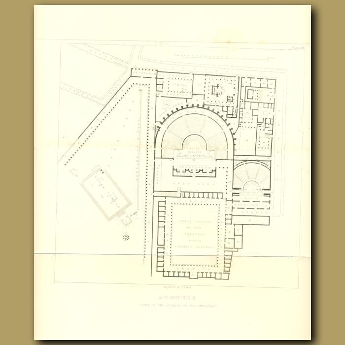 Antique print. Pompeii: Plan of the quarter of the Theatres