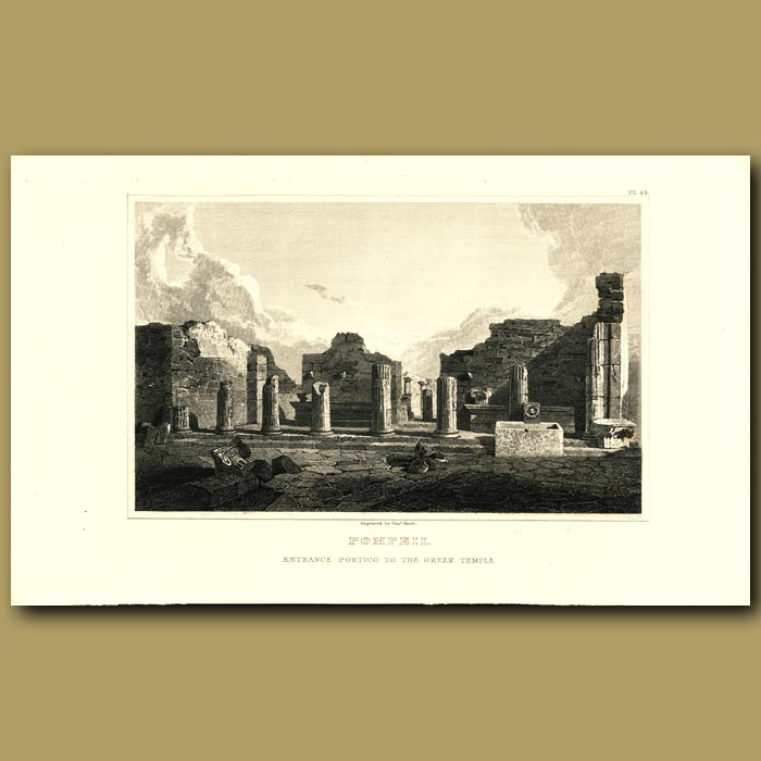 Antique print. Pompeii: Entrance Portico to the Greek Temple